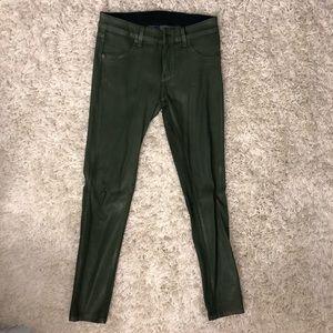 Size 27 Olive green wax denim jeans. Carmar Brand